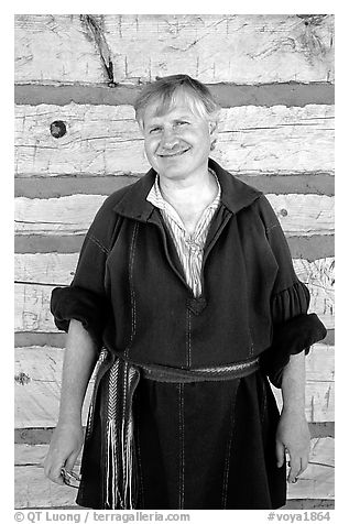 Park staff member wearing  outfit similar to that worn by the Voyageurs. Voyageurs National Park (black and white)