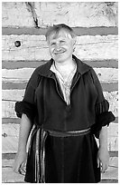 Park staff member wearing  outfit similar to that worn by the Voyageurs. Voyageurs National Park, Minnesota, USA. (black and white)