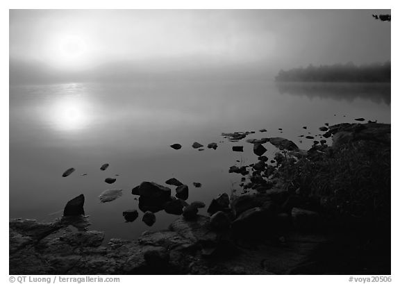 Sunrise and morning fog, Kabetogama lake near Woodenfrog. Voyageurs National Park (black and white)