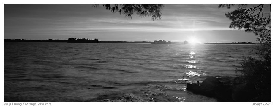 Sunrise over lake. Voyageurs National Park (black and white)