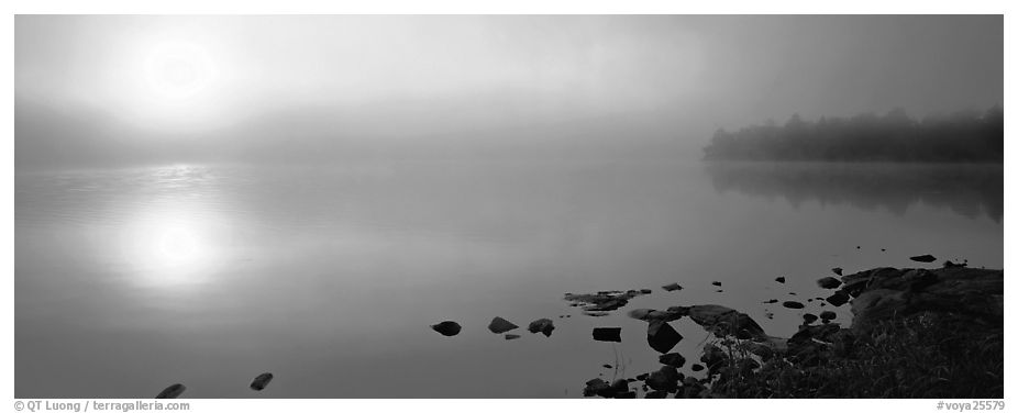 Misty lake scene with sun piercing fog. Voyageurs National Park (black and white)