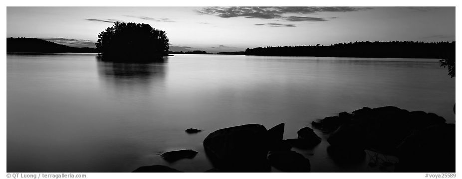 Calm evening over Kabetogama Lake. Voyageurs National Park (black and white)