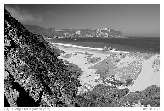 Dunes and Cuyler Harbor, mid-day, San Miguel Island. Channel Islands National Park (black and white)