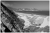 Dunes and Cuyler Harbor, mid-day, San Miguel Island. Channel Islands National Park, California, USA. (black and white)