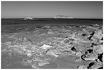 Judge Rock, Prince Island, Cuyler Harbor, mid-day, San Miguel Island. Channel Islands National Park, California, USA. (black and white)
