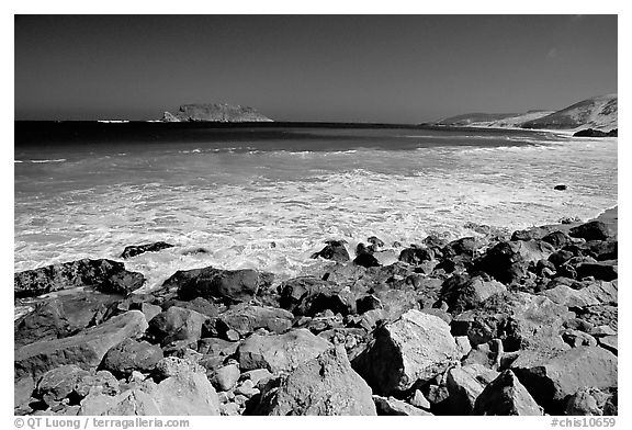 Surf foam and rocks, Cuyler Harbor, mid-day, San Miguel Island. Channel Islands National Park (black and white)