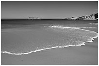 Beach, Cuyler Harbor, mid-day, San Miguel Island. Channel Islands National Park, California, USA. (black and white)