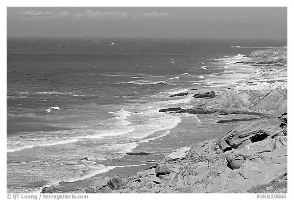 Coastline near Point Bennett , San Miguel Island. Channel Islands National Park (black and white)