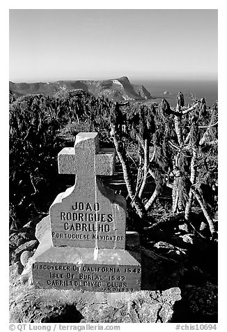 Cabrillo monument above Cuyler Harbor, San Miguel Island. Channel Islands National Park (black and white)
