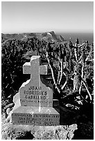 Cabrillo monument above Cuyler Harbor, San Miguel Island. Channel Islands National Park ( black and white)