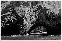 Sea arch, Santa Cruz Island. Channel Islands National Park, California, USA. (black and white)