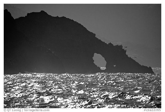 Sea arch, Santa Cruz Island. Channel Islands National Park (black and white)