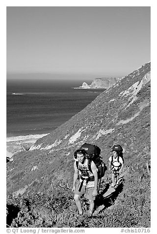 Backpackers in Nidever canyon , San Miguel Island. Channel Islands National Park (black and white)