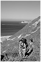 Backpackers in Nidever canyon , San Miguel Island. Channel Islands National Park, California, USA. (black and white)