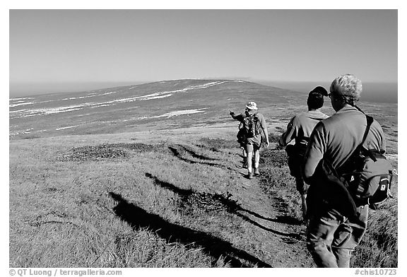 Hikers on  trail to Point Bennett, San Miguel Island. Channel Islands National Park (black and white)