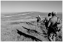 Hikers on  trail to Point Bennett, San Miguel Island. Channel Islands National Park, California, USA. (black and white)