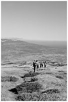 Hiking across  island to Point Bennett, San Miguel Island. Channel Islands National Park, California, USA. (black and white)