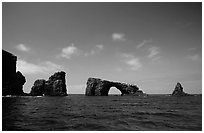 Arch Rock, East Anacapa. Channel Islands National Park, California, USA. (black and white)