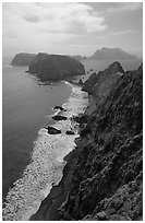 View from Inspiration Point, afternoon. Channel Islands National Park, California, USA. (black and white)
