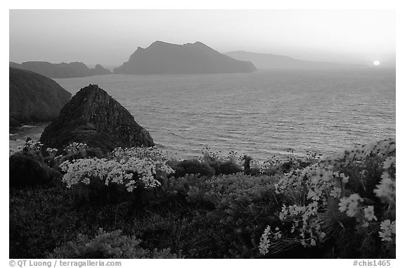 Sunset near Inspiration Point, Anacapa. Channel Islands National Park (black and white)