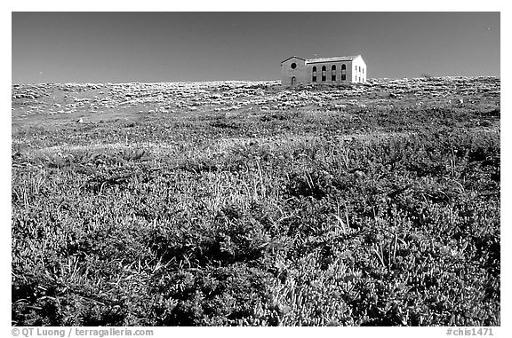 Water storage building with church-like facade, Anacapa. Channel Islands National Park (black and white)