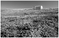 Water storage building with church-like facade, Anacapa. Channel Islands National Park, California, USA. (black and white)