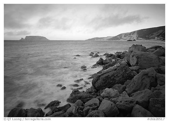 Boulders and coastline,  Cuyler Harbor, sunset, San Miguel Island. Channel Islands National Park (black and white)