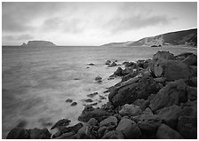 Boulders and coastline,  Cuyler Harbor, sunset, San Miguel Island. Channel Islands National Park ( black and white)