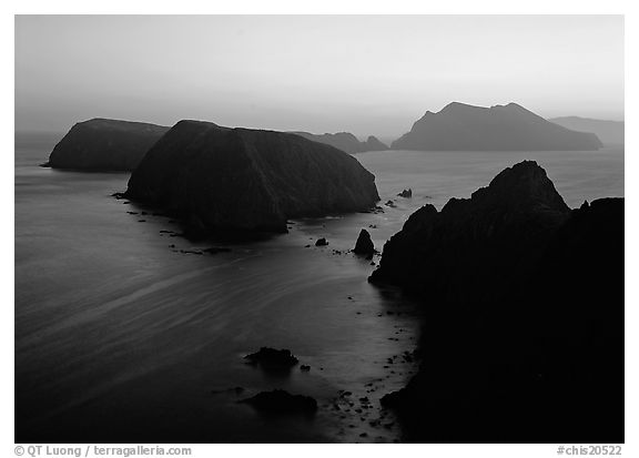 Sunset over island chain, Anacapa Island. Channel Islands National Park (black and white)