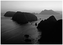 Sunset over island chain, Anacapa Island. Channel Islands National Park ( black and white)
