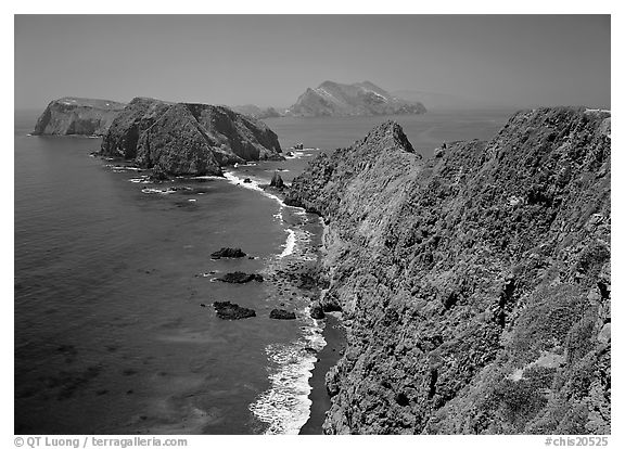 View from Inspiration Point, mid-day. Channel Islands National Park (black and white)