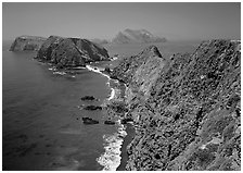 View from Inspiration Point, mid-day. Channel Islands National Park ( black and white)