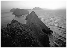 Inspiration point, sunset, Anacapa Island. Channel Islands National Park ( black and white)