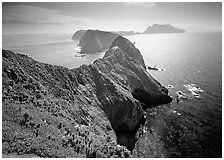 Chain of islands, afternoon, Anacapa Island. Channel Islands National Park ( black and white)