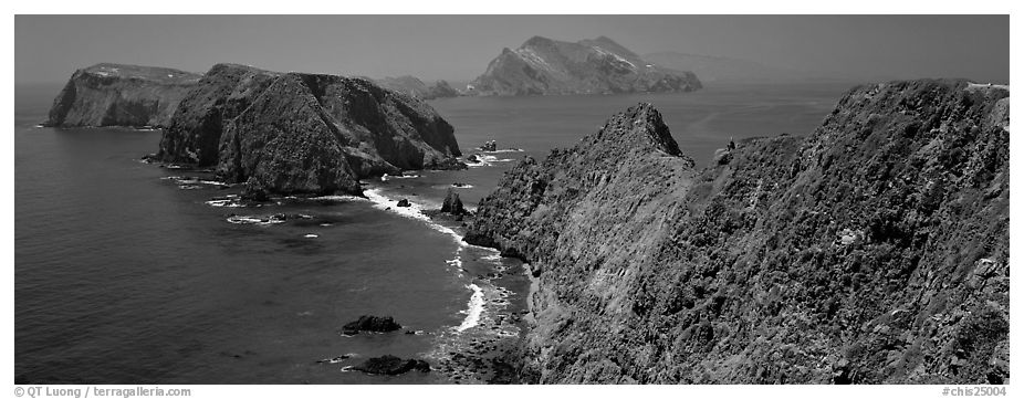Sea cliffs from Inspiration Point, Anacapa Island. Channel Islands National Park (black and white)