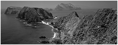 Sea cliffs from Inspiration Point, Anacapa Island. Channel Islands National Park (Panoramic black and white)