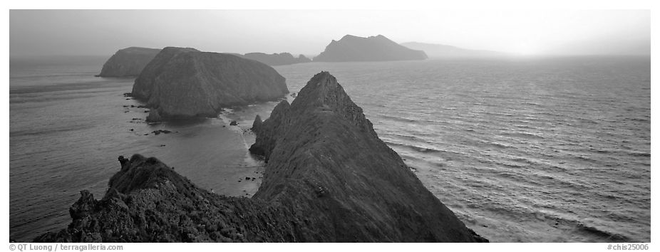 Spring sunset over ocean and islands, Anacapa Island. Channel Islands National Park (black and white)
