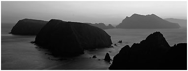 Chain of islands at sunset, Anacapa Island. Channel Islands National Park (Panoramic black and white)