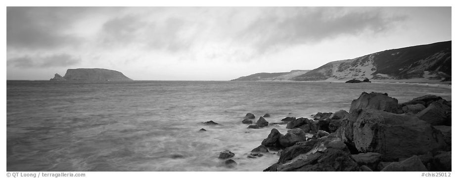 Marine landscape at sunset, San Miguel Island. Channel Islands National Park (black and white)