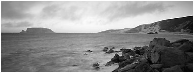 Marine landscape at sunset, San Miguel Island. Channel Islands National Park (Panoramic black and white)