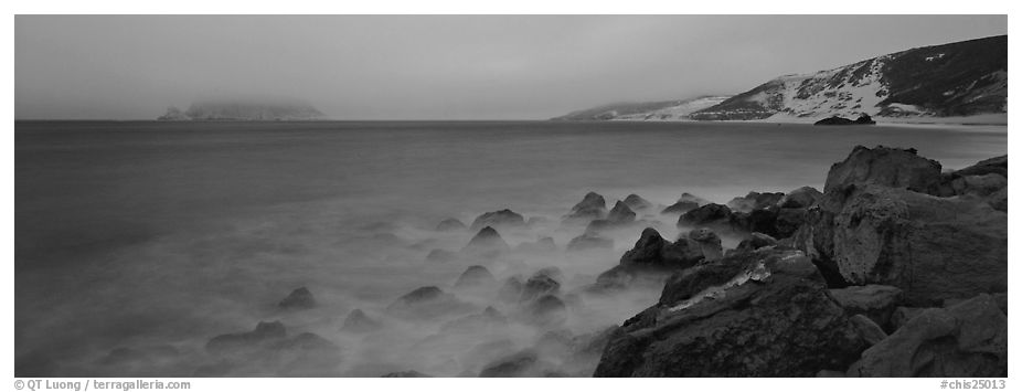 Coastal seascape at dusk, San Miguel Island. Channel Islands National Park (black and white)