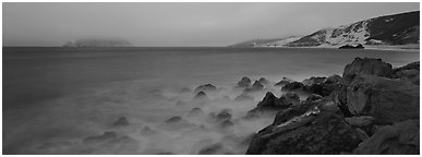 Coastal seascape at dusk, San Miguel Island. Channel Islands National Park (Panoramic black and white)