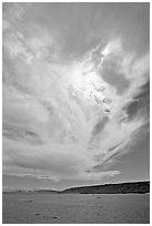 Clouds and Santa Rosa Island. Channel Islands National Park ( black and white)