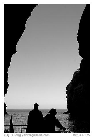 Looking out from inside Painted Cave, Santa Cruz Island. Channel Islands National Park (black and white)
