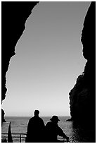 Looking out from inside Painted Cave, Santa Cruz Island. Channel Islands National Park, California, USA. (black and white)