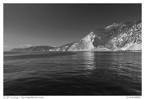 South shore cliffs and reflections, Santa Cruz Island. Channel Islands National Park (black and white)
