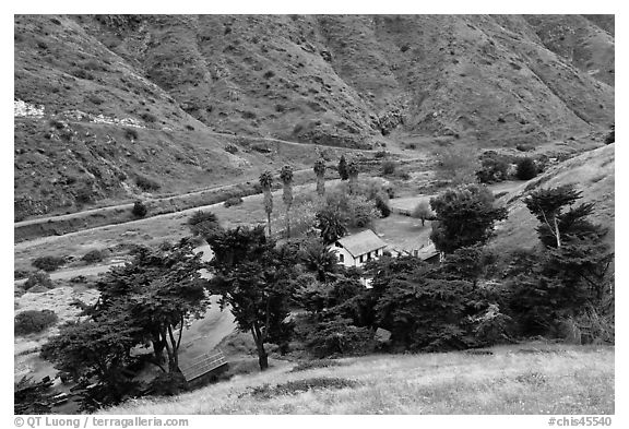 Scorpion Ranch in Scorpion Canyon, Santa Cruz Island. Channel Islands National Park (black and white)