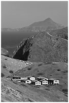 National Park Service housings, Santa Cruz Island. Channel Islands National Park, California, USA. (black and white)