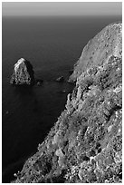 Rock and cliff in springtime, Santa Cruz Island. Channel Islands National Park, California, USA. (black and white)