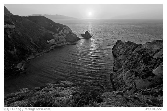 Potato Harbor cove at sunset, Santa Cruz Island. Channel Islands National Park (black and white)